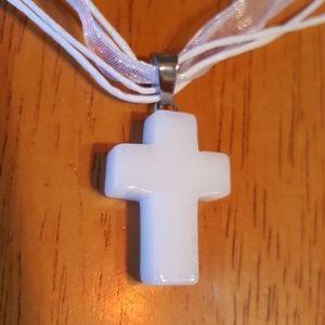 "Jewelry - NWOT 16-18"" White Howalite cross stone-ribbon/cord"